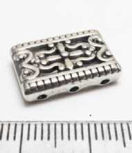 Rectangular Spacer x 8. Silver 3 hole. 17.5mm x 11.5mm x 4mm.